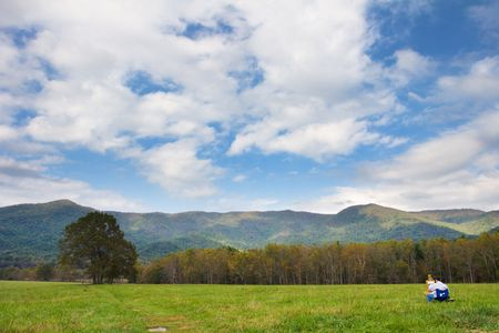 ridgeline: Man Painting the scenery of Cades Cove, Smoky Mountains Nat. Park, USA.