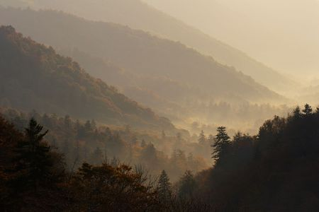 ridgeline: Hazy Autumn Valley - Smoky Mountains National Park, USA.