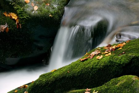 stoney: Water Flowing over Mossy Rocks -Smoky Mountains Nat. Park. Stock Photo