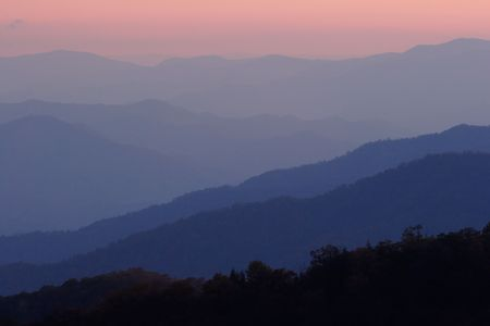 ridgeline: Layers of the Smoky Mountains at Sunset. Stock Photo