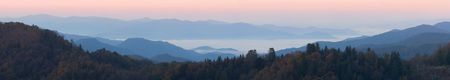 ridgeline: Sunrise Above the Clouds Panorama - Smoky Mountains Nat. Park.