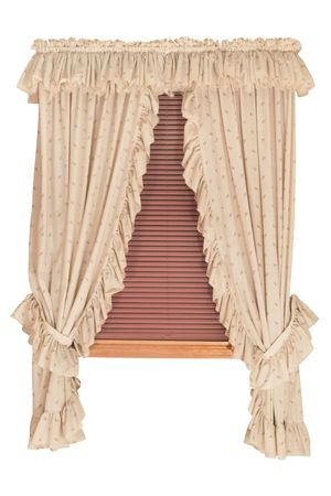 Isolated Window with Curtains, Blinds  Stock Photo