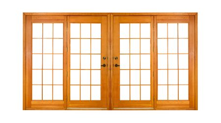windows and doors: Double Wooden Doors, isolated on white