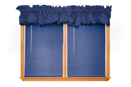 wood blinds: Isolated Double Window with Blinds, Valance