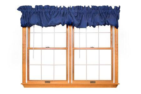 sipario chiuso: Isolata doppia con Blue Window valance Archivio Fotografico