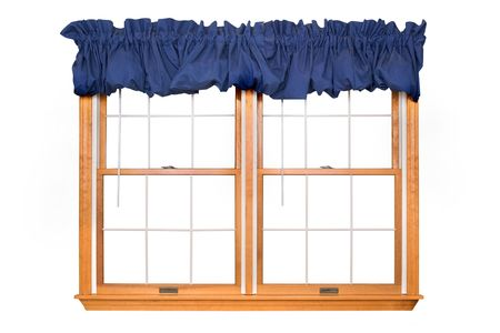 window curtains: Isolated Double Window with Blue Valance