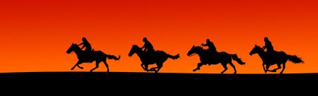 Panoramic silhouette of four horses and riders at sunset.