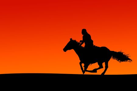 galloping: Silhouette of a horse and rider at sunset. Stock Photo