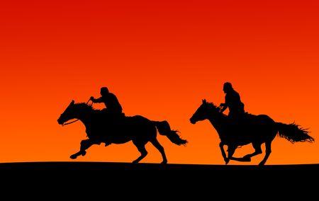 horseman: Due Cavalli e cavalieri Tramonto Silhouette (tracciati di ritaglio incluso, se supportato dalla sito)