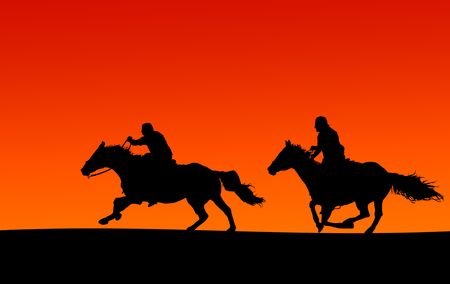Two Horses and Riders Sunset Silhouette (clipping paths included, if supported by site)
