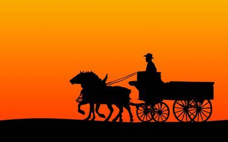 Cheval et le panier, Silhouette (chemin de détourage inclus, si elles sont soutenues par site)  Banque d'images - 2515600