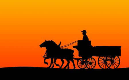 horse drawn carriage: Horse and Cart, Silhouette (clipping path included, if supported by site)