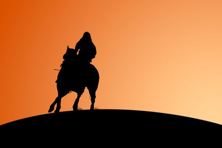 away: Horse and Rider Sunset Silhouette
