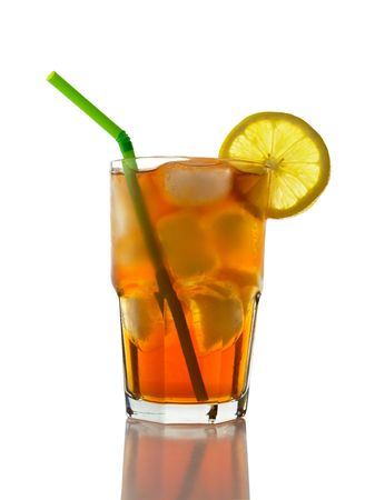Iced Tea with Lemon, Straw Stock Photo