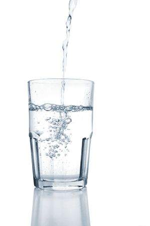 into: Water Pouring into a Glass, on white