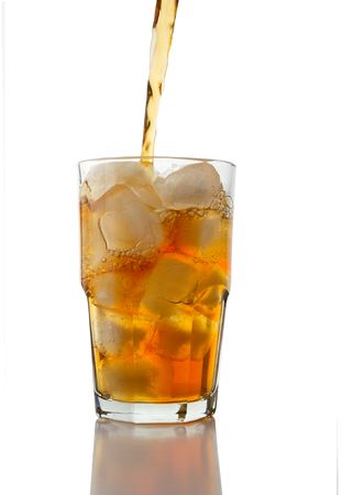 iced tea: Iced Tea Pouring into a Glass of Ice