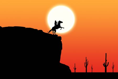 rearing: Horse and Rider at Sunset Stock Photo