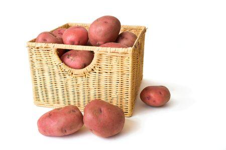 potatos: Red Potatos in Wicker Basket.