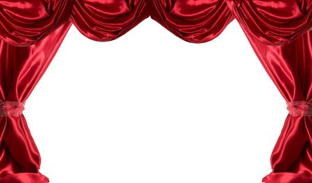 Red Satin Curtains Isolated on White Stock Photo