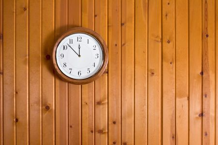 textured wall: Clock on Wooden Wall