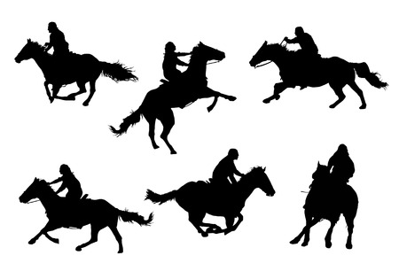 cowgirls: A collection of horsemen  horsewomen vector silhouettes. Illustration