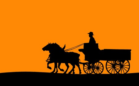 horse cart: Horse and Cart Silhouette (Vector)