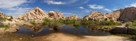 Pool of Water formed by Barker Dam - Mojave National Preserve, California photo