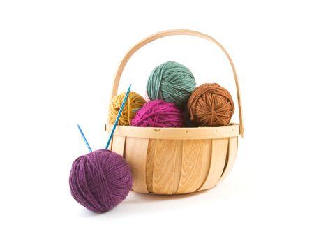 Yarn Balls in a Wicker Basket