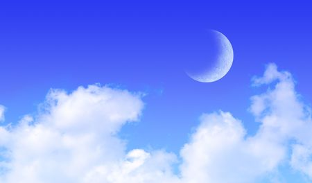 crescent: Fluffy clouds and a moon against a blue sky.