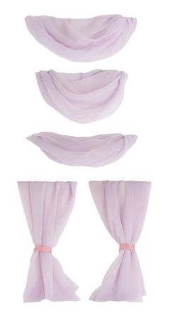 Components of Fabric Drapes Isolated on White