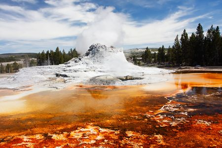 Castle Geyser Steaming - Yellowstone National Park