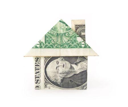 Money House - a dollar bill folded into a house.