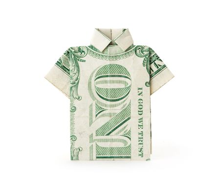 A dollar bill folded into a T-shirt shape.