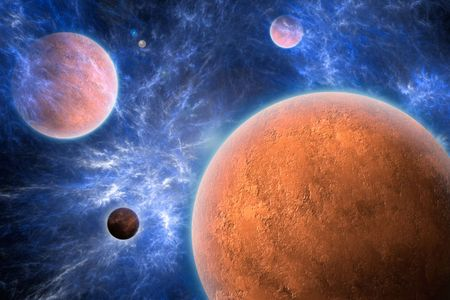 Textured red planets and a blue nebula.