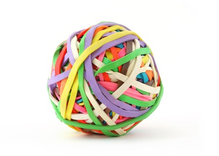 Rubber Band Ball on White photo