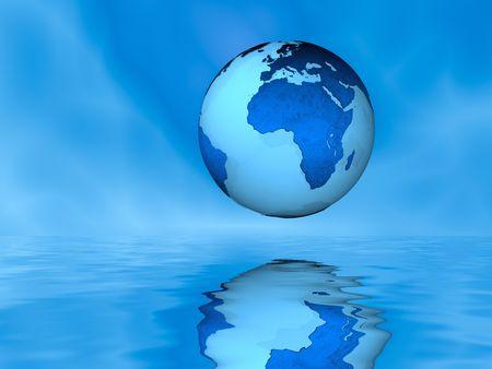 Globe Above Water, Eastern Hemisphere Banco de Imagens - 4120759