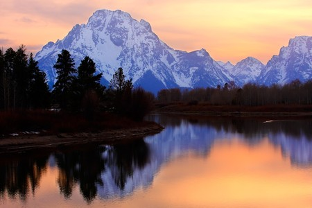 Mount Moran reflectin in the Snake River at Oxbow Bend, Grand Teton National Park, Wyoming. Stock Photo