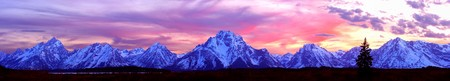 Grand Tetons Sunset Panorama. photo