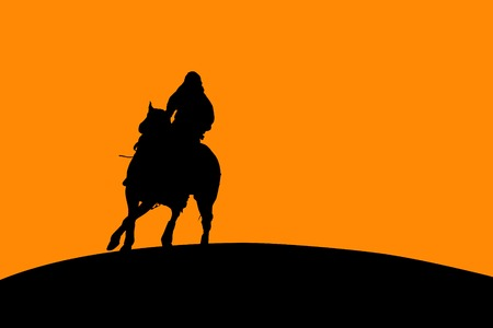 silhouetted: Vector silhouette of a horse and rider.