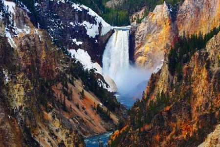 Yellowstone's Lower Falls as seen from Artist Point. Stock fotó