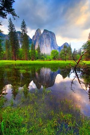 yosemite: Yosemites Cathedral Rocks reflecting at sunset.