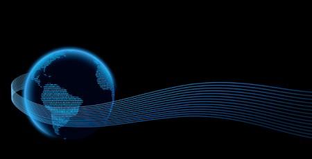 Digital Globe Motiff - Digital globe with wavy lines on black.  Globe based on public-domain NASA image: http://visibleearth.nasa.gov/view_rec.php?id=7129 Stock Photo - 4561545