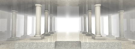 3d temple: Illustration of a spacious marble building (3d render)