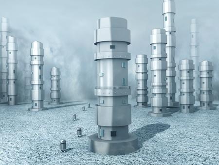 ロボット搭載冷凍の世界 (3 d レンダリング)。 写真素材