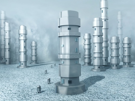 populated: A frozen world populated with robots (3d render).