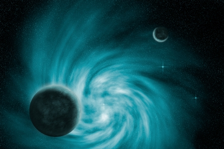 Illustration of a spiral galaxy and planets in outer space