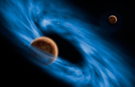 特異点の渦巻銀河と惑星空間シーンの描画 写真素材