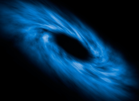 black hole: Illustration of the accretion disk surrounding a singularity in outer space  Stock Photo