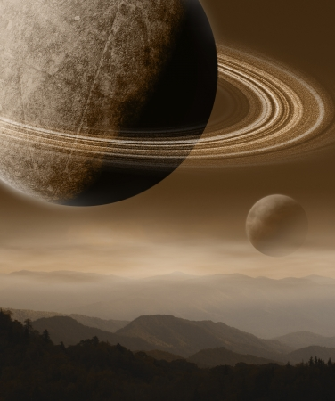 Imaginary Landscape with Planets 版權商用圖片