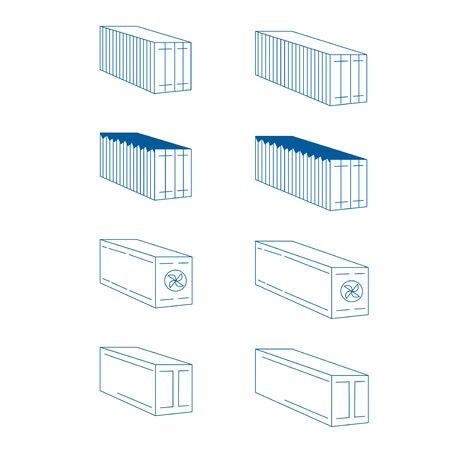 Linear cargo container icon. Logistic delivery concept symbols. refrigerator, steel, metal covered containers. vector illustration